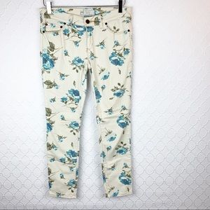 Free People Floral Ankle Skinny Jeans 28